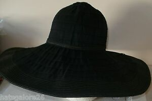 LADIES-SUN-HAT-WIDE-FLOPPY-BRIM-POLYESTER-PAPER-STRAW-BLACK-OR-TURQUOISE