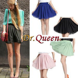 2012-HOT-Retro-high-waist-pleated-double-layer-chiffon-Short-Mini-Pompon-Dress