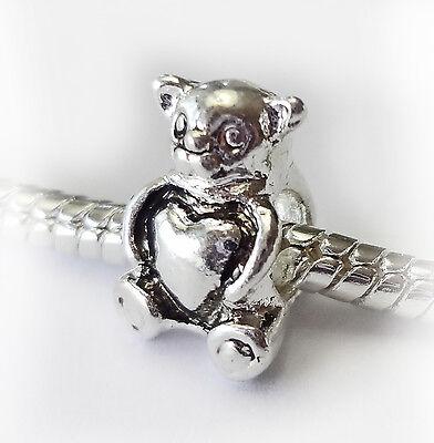 Silver Plated Teddy Bear Charm Bead With A Love Heart Fits European Bracelets