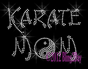 Karate-Mom-Yin-Yang-Symbol-Iron-on-Rhinestone-Transfer-Hot-Fix-Bling-Sports