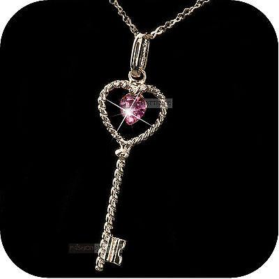 18k rose gold made with SWAROVSKI crystal key pink heart pendant love necklace