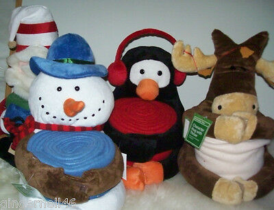 Plush Character Hug with Throw New Santa Moose Snowman Penguin Christmas Deco