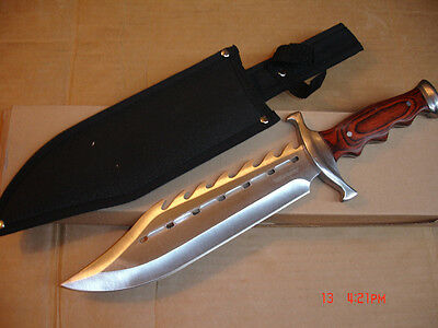 TIMBER  RATTLER   SINFUL  SPIKED  BOWIE   KNIFE   W/NYLON SHEATH
