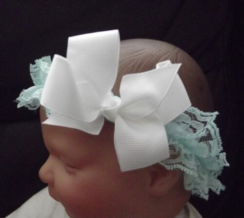 BABY GIRL  LARGE BOW LACE HEADBAND SUITABLE FROM NEWBORN 2 YEARS MANY COLOURS
