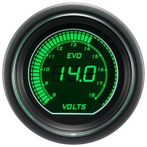 52mm-Autogauge-Digital-EVO-Gauge-VOLT-VOLTAGE-METER-GREEN-WHITE-SMOKE-LED