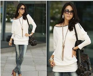 Women-Sexy-Zipper-Off-Shoulder-Long-Sleeve-Cotton-Slim-Shirt-Mini-Dress-E353