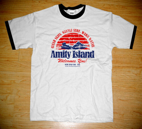 NEW STEVEN SPIELBERG JAWS MOVIE 1975 AMITY ISLAND LOGO T-SHIRTS