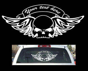 Skull Banner With Custom Text Rear Window Truck Car Suv Sticker - Custom rear window decals for cars
