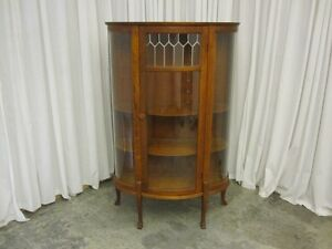 Antique-China-Curio-Cabinet-Hutch-w-Leaded-Glass-Panel-Curved-Sides-Sawn-Oak