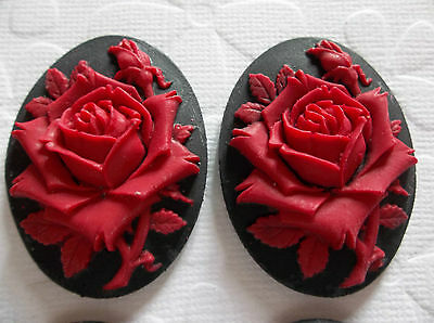 Blooming Red Rose Flower on Black Cameo - 40 X 30mm Resin Cabochons - Qty 6
