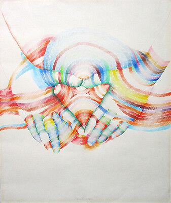 MARISOL ESCOBAR Signed 1970 Original Colored Pencil Pop Art Drawing