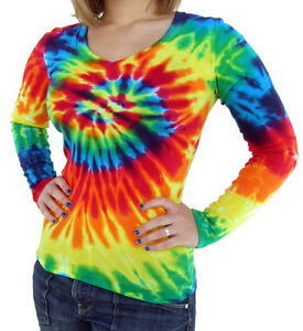 Ladies-V-Neck-Tie-Dye-Long-Sleeve-Rainbow-Spiral-Fitted-T-Shirt