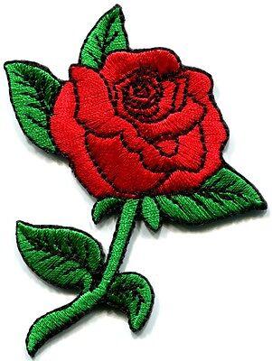 Rose flower tattoo love 70s retro boho biker applique iron-on patch S-194