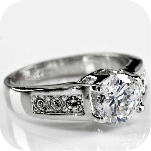 18k white gold gp simulated diamond engagement wedding bridal ring US 6.5 AU N