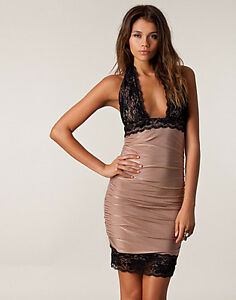 HONOR-GOLD-ASOS-MOCHA-BLACK-LACE-BACKLESS-BODYCON-CLUB-PARTY-DRESS-SZ-8-16