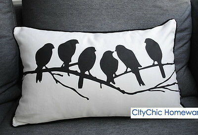 50cm x 30cm TBBS Black & White Birds on Branch Cushion Cover White