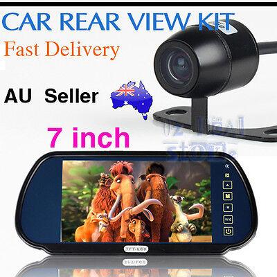"Car Rear View Kit 7"" LCD Mirror Monitor + Reverse Back Park Camera 170° Angle AU"