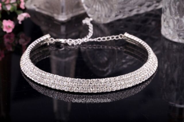 Beautiful 3-Row Clear Rhinestone Crystal Necklace Fit Bridal Choker /wedding