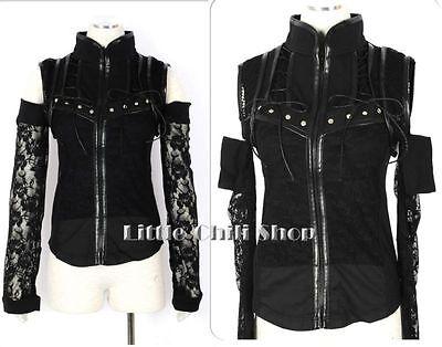 Unsiex Visual Kei Gothic Punk ROSE Zipper Lace Top + arm warmers B069 S~L