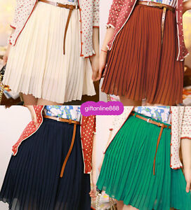 Casual-Women-Waist-Elastic-Chiffon-Pleated-Skirts-Send-belt-3569