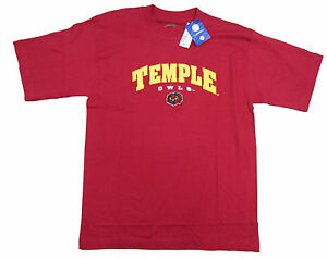TEMPLE-OWLS-ADULT-RED-EMBROIDERED-T-SHIRT-NEW