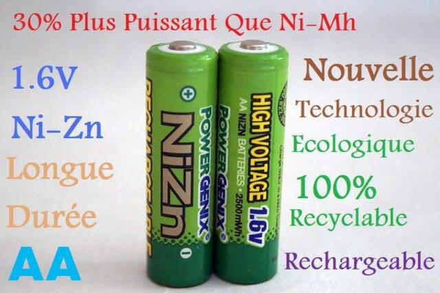 2 Accus AA Rechargeables 1.6V Ni-Zn 2500mwh PowerGenix Remplace les 1.5V