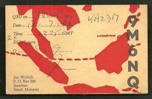 Jesselton-QSL-card-9M6NQ-Map-Borneo-Malaysia-1966