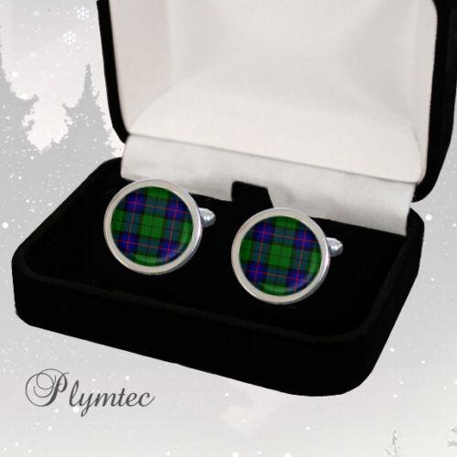 Armstrong clan escocés tartan men/'s Cufflinks//Tie diapositiva Conjunto de Regalo Grabado