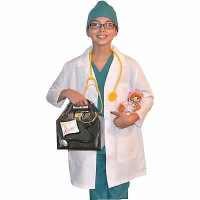 Kids Doctor Costume with REAL Scrubs and Lab Coat, Stethoscope,Bear,Bag,Cap
