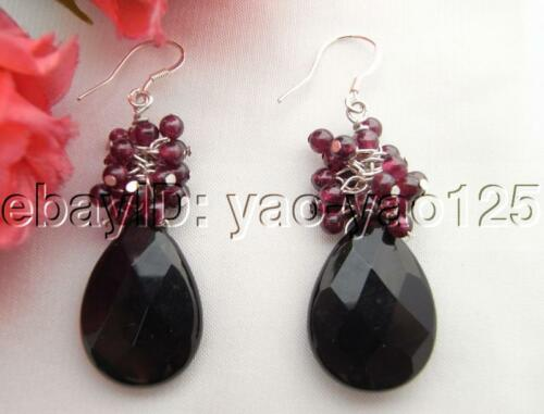 Natural Garnet&Onyx 925 Silver Hook Earrings