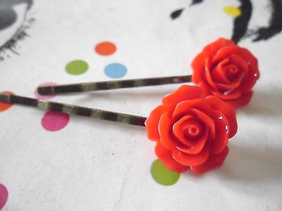 Rose Ultra Rockabilly Vintage Flower Bobby Pins Retro Hair Grips Slides Clips UK