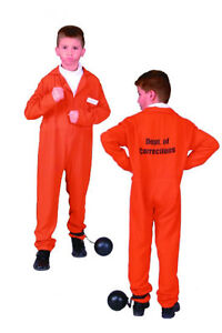 ORANGE CHILD PRISONER CONVICT BOY COSTUMES JAILBIRD KIDS JUMPSUIT ...