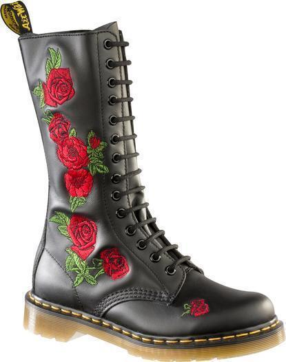 DR MARTENS VONDA P12761001 - 14 EYELETS BLACK WITH RED ROSES LADIES BOOT UK 3-9