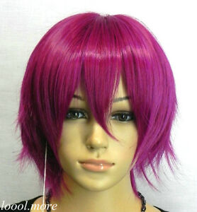 New-Exquisite-Unique-Short-Straight-Dark-Rose-red-Cosplay-Wig-Free-Hairnet-SD21