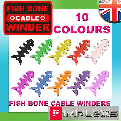 FISH BONE IPOD EARPHONE CABLE TIDY WINDER 10 COLOURS HEADPHONE CORD SILLICONE