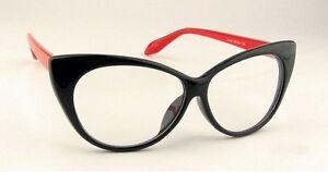 Black-amp-Red-Frame-Vintage-Cat-Eyes-Eyeglasses-Glasses-with-Clear-Lens
