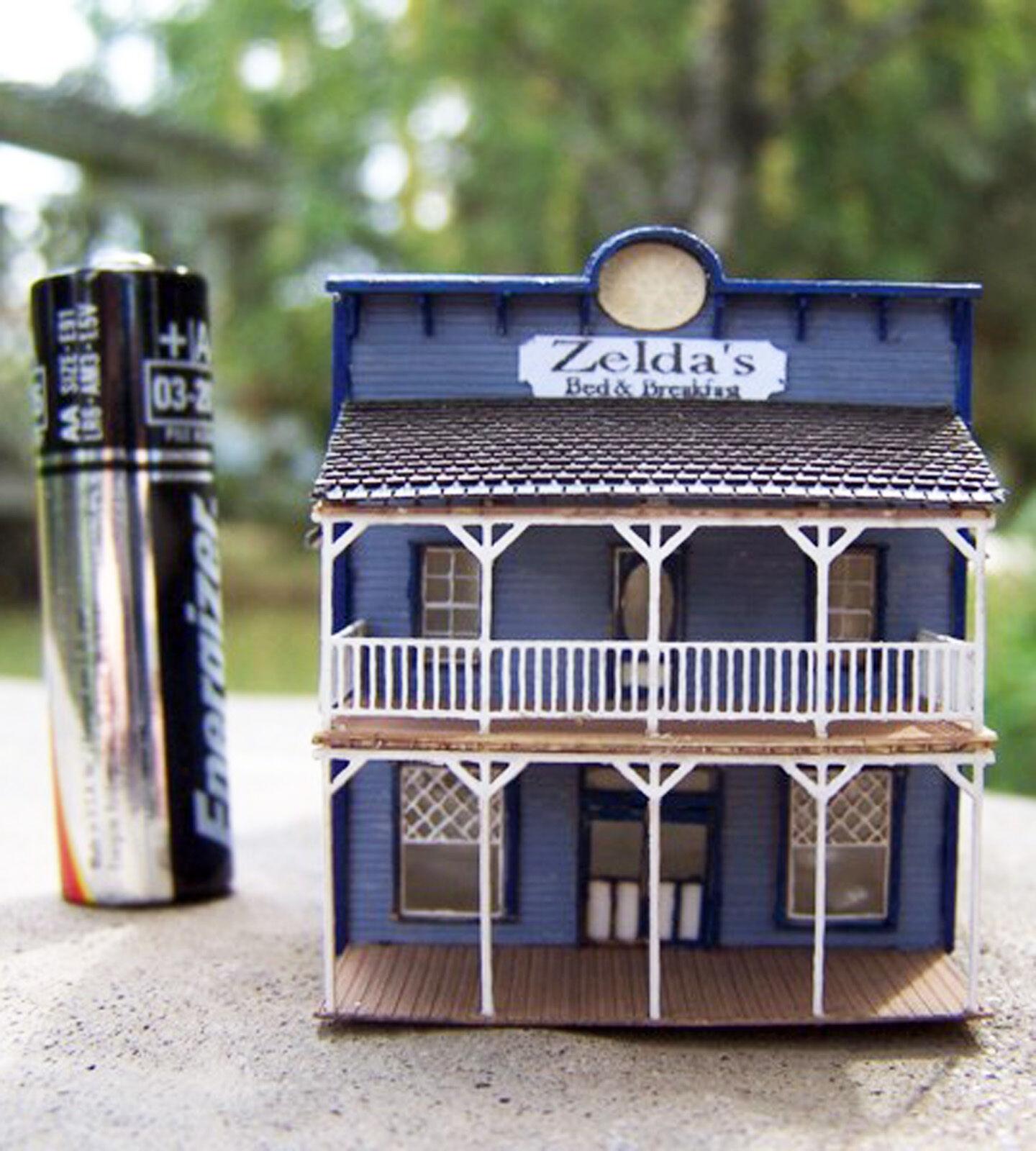 GEM HOTEL Z Scale Model Railroad Structure Unpainted Wood Laser Kit RSL4022
