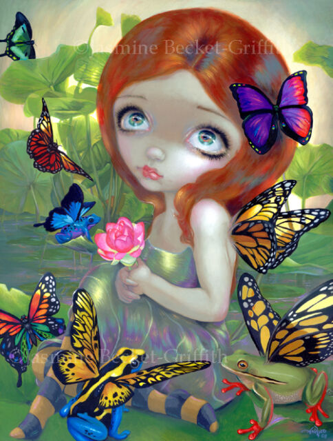 Jasmine Becket-Griffith art print SIGNED Daydreams and Frogs fairy butterfly pop