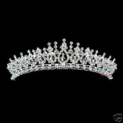 4cm High Twinkling Wedding Bridal Bridesmaid Prom Clear Crystal Tiara