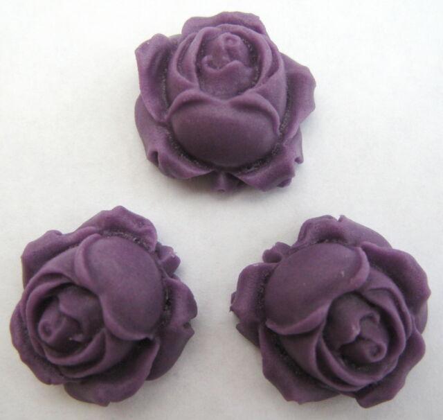 50 Purple ROSE BUDS Handmade Edible Sugar Cake Decorations toppers 2.5cm
