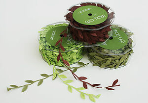 Full-Reel-MAY-ARTS-LEAF-RIBBON-TRIM-apx-27m-30y-bright-green-green-brown