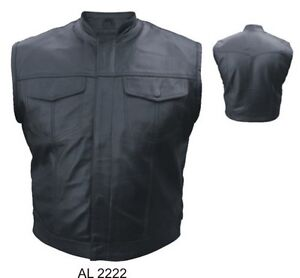 New-Mens-Outlaw-Muscle-Leather-Motorcycle-Biker-Vest-Sleeveless-Jacket-Shirt-48