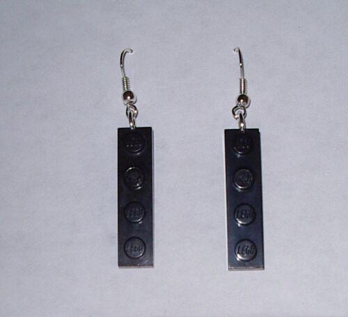 BLACK  LEGO BLOCK TILE  SILVER EARRINGS 1 x 4  IN GIFT BOX