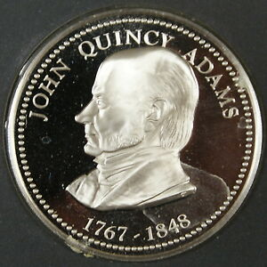 John-Quincey-Adams-Proof-Silver-Medal-By-The-Franklin-Mint-Sterling-Silver-Medal