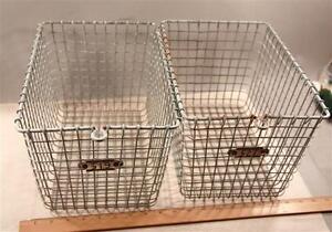 Two-2-Vintage-Gym-Locker-Baskets-Kasper-Wire-Detroit-Cass-Tech-High-School