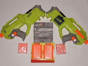 NEW-Lot-of-2-Nerf-RAYVEN-Dart-Gun-Blaster-Two-6-dart-Clips-N-strike-Quick-Load