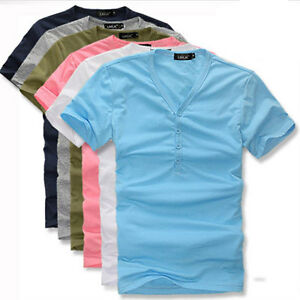 Mens-Multi-Button-Design-Slim-Fit-Cotton-T-Shirt-Tops-7color-M-XXL-FREE-SHIPPING