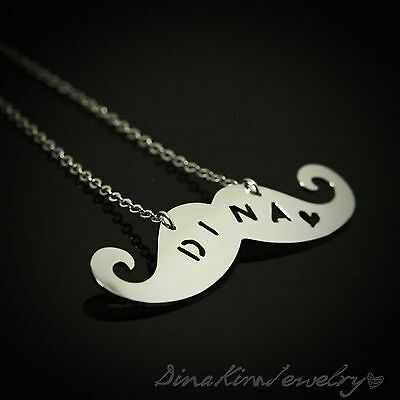 Any Personalized Name Initial Funny Mustache Necklace Jewelry Special  Gift