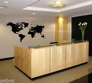 Global World Map Atlas Easy to Apply Vinyl Wall Decal ...
