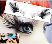FULL Feather False Eyeylashes - Black Red Mint Blue Teal White Light Halloween